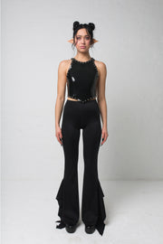 fashion brand BONDY showcasing handmade SERAPHINA  black high waisted side slit flare pants/trousers shown on a size small model, part of the new DREY:MA collection. full body front view
