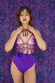 Purple chandelier neckholder top with icicle shaped crystals