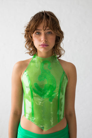 Lime green glitter PVC crop top with high neckline and with karabiner hooks at the back