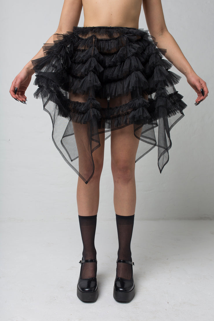 fashion brand BONDY showcasing handmade NERA high waisted double layered black tulle mini skirt with ruffle detail shown on size small model, part of the new collection DREY:MA. front view