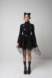 fashion brand BONDY showcasing handmade NERA high waisted double layered black tulle mini skirt with ruffle detail shown on size small model, part of the new collection DREY:MA. full body front view