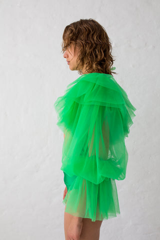 Green tulle crop top with voluminous puffy sleeves with double ruffled shoulders and elastic cuffs