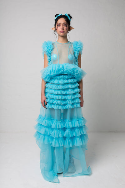 fashion brand BONDY photoshoot showcasing handmade DELPHINE ice blue maxi high waisted, ruffle 100% tulle skirt shown on a size small, part of the new collection DREY:MA. full body front view