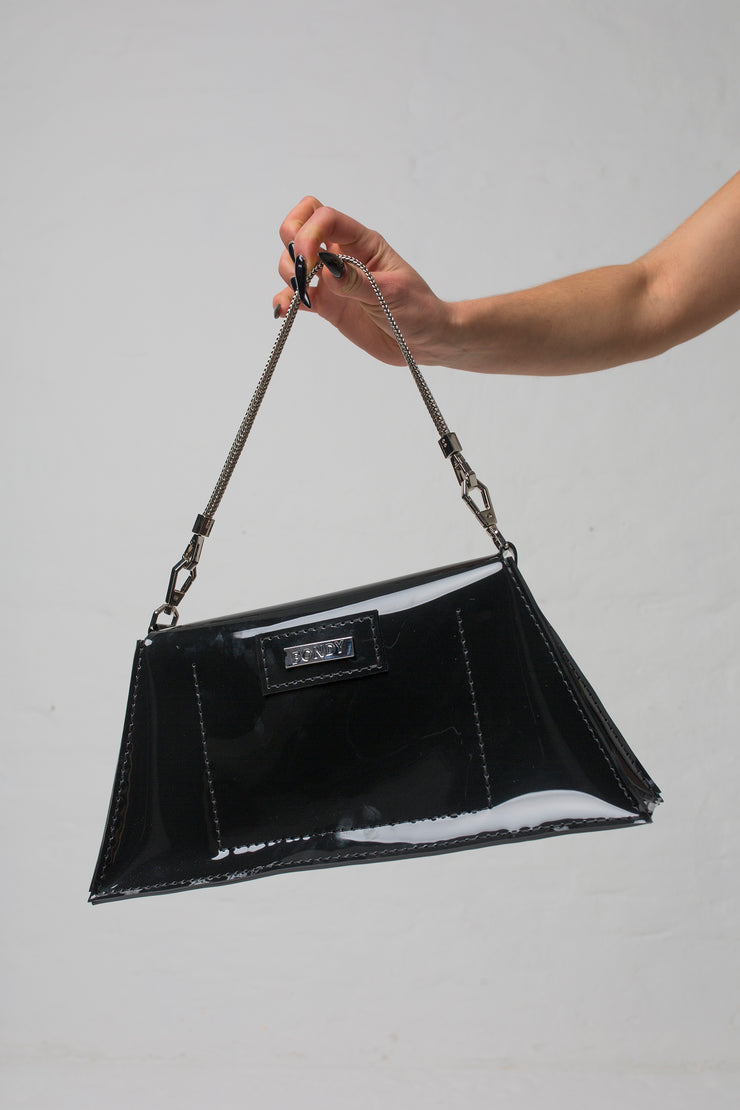 fashion brand BONDY showcasing handmade XENIA black 100% PVC bag with chain shoulder strap, part of the new collection DREY:MA. bag view