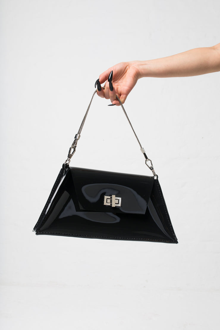 fashion brand BONDY showcasing handmade XENIA black 100% PVC bag with chain shoulder strap, part of the new collection DREY:MA. front view