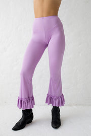 Stretchy lilac pants with ruffled hem and elastic waistband