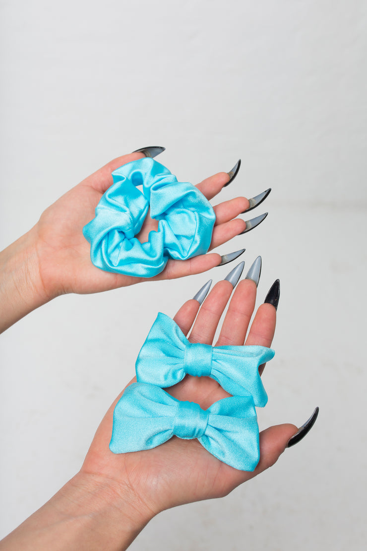 fashion brand BONDY photoshoot showcasing handmade FLORA ice blue nylon hair set consisting of two hair bow clips and one scrunchie, part of the new collection DREY:MA