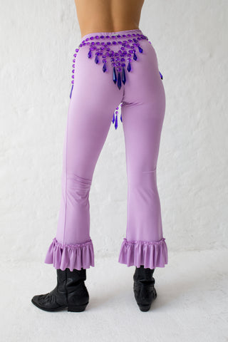 Purple panties belt with icicle shaped hem details and adjustable sides that close with hooks