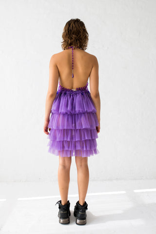 High waisted ruffle skirt in milky purple color, with elastic waistband