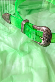 Green glitter PVC belt with 2 front buckles