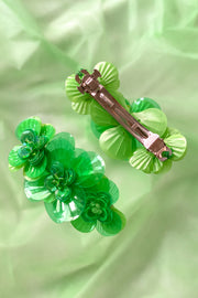 Green hairclip with 3 handmade sequin flowers