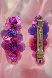 Purple hairclip with 4 handmade sequin flowers