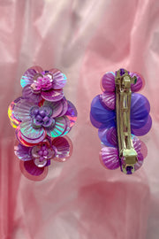 Purple hairclip with 3 handmade sequin flowers