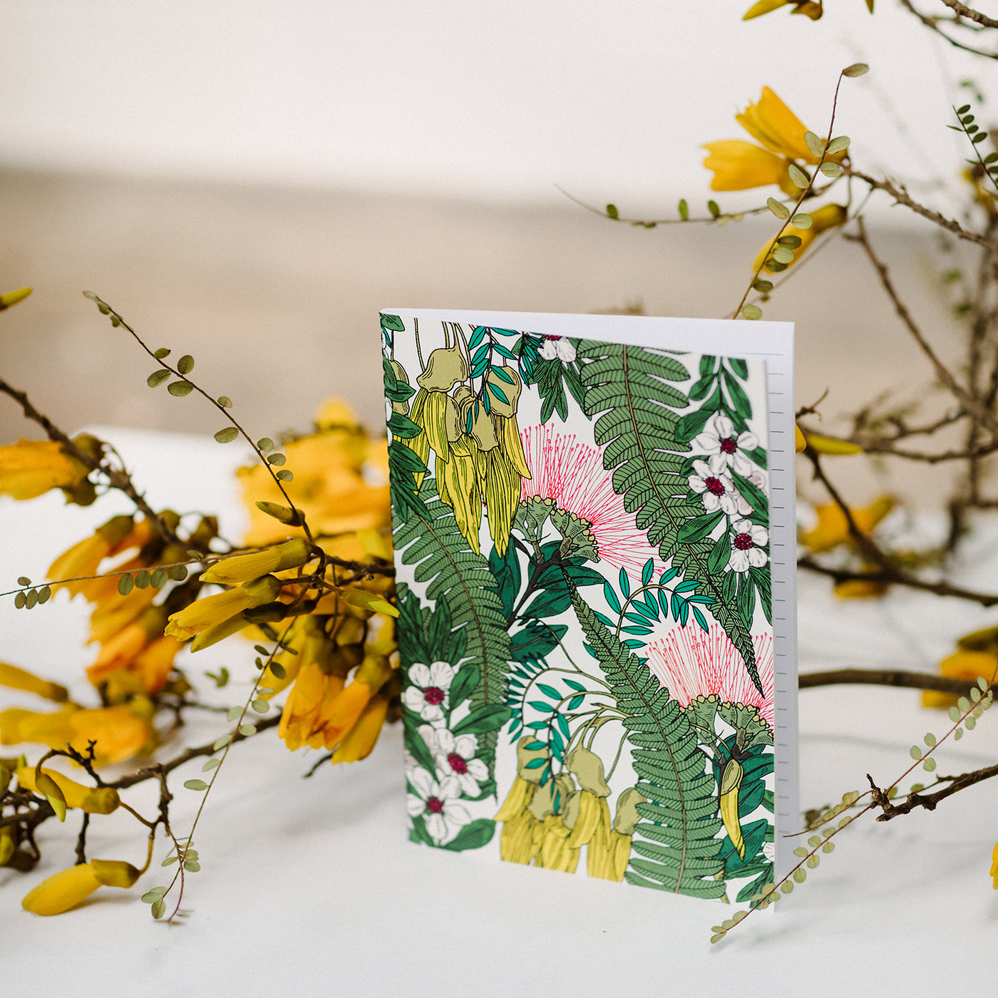 Stationery by Miel des Collines with Pohutukawa and Kowhai flowers