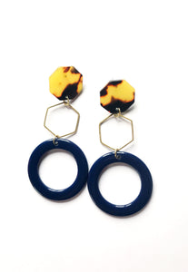 Navy & Brass Hoops