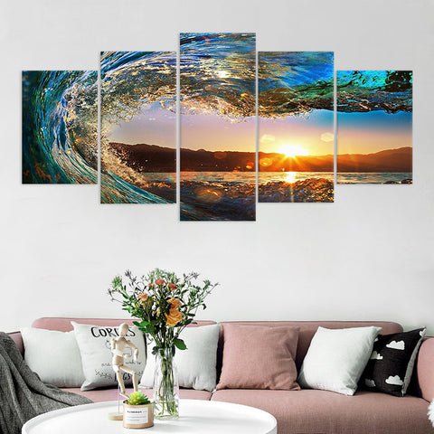 Pictura decorativă pe pânză set 5 buc Sunset Scenery Living Room