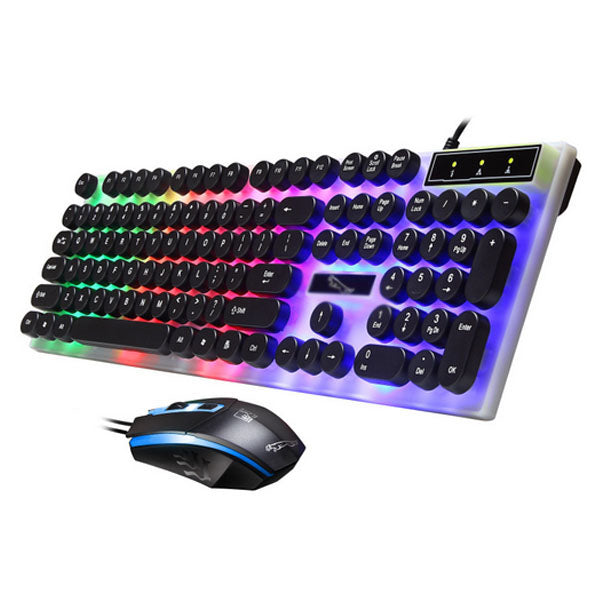 Set tastatură și mouse, model retro, taste rotunde și colorate multicolor