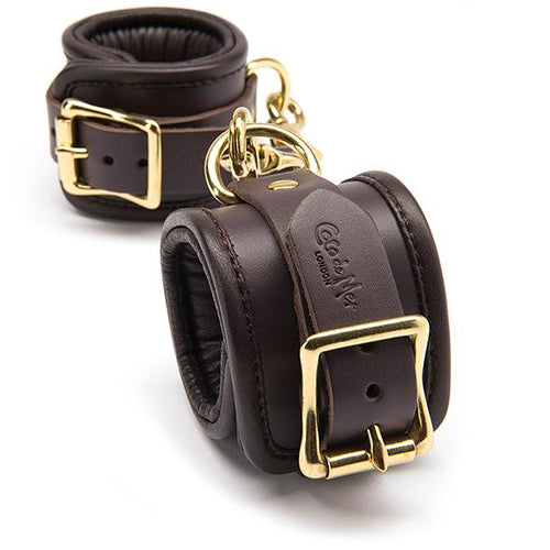Coco de Mer - Leather Wrist Cuffs S/M Brown - Zazoobi