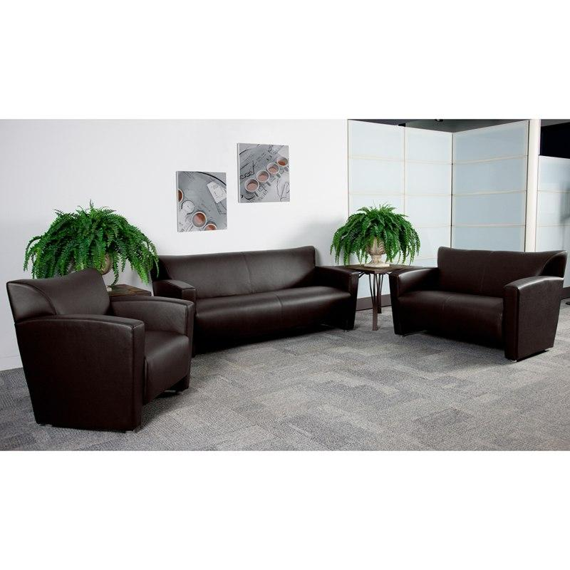 Flash Furniture 222-SET-BN-GG HERCULES Majesty Series Reception Set in Brown