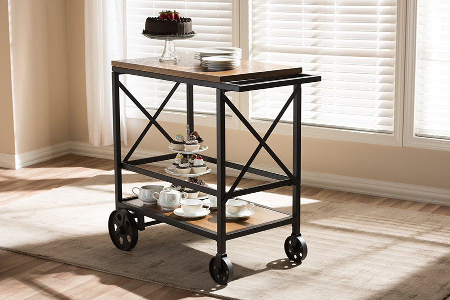 Wholesale interiors Chester Rustic Industrial Style Oak Brown Finished Wood and Black Finished Metal Mobile Serving Cart YLX-9051