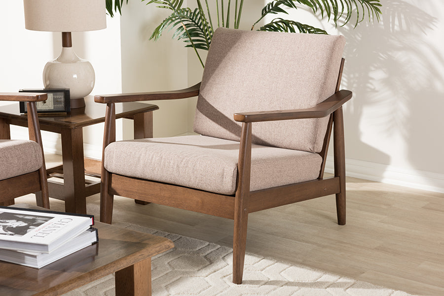 Wholesale interiors Venza Mid-Century Modern Walnut Wood Light Brown Fabric Upholstered Lounge Chair Venza-Brown/Walnut Brown-CC