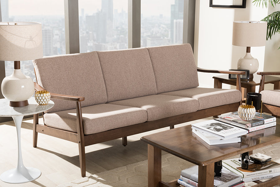 Wholesale interiors Venza Mid-Century Modern Walnut Wood Light Brown Fabric Upholstered 3-Seater Sofa Venza-Brown/Walnut Brown-SF