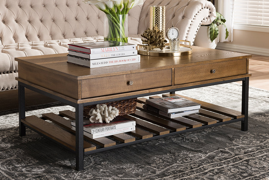 Wholesale interiors Newcastle Rustic Industrial Style Oak Brown Finished Wood and Black Finished Metal Coffee Table YLX-0003-CT