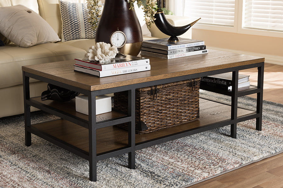 Wholesale interiors Caribou Rustic Industrial Style Oak Brown Finished Wood and Black Finished Metal Coffee Table YLX-0005-CT
