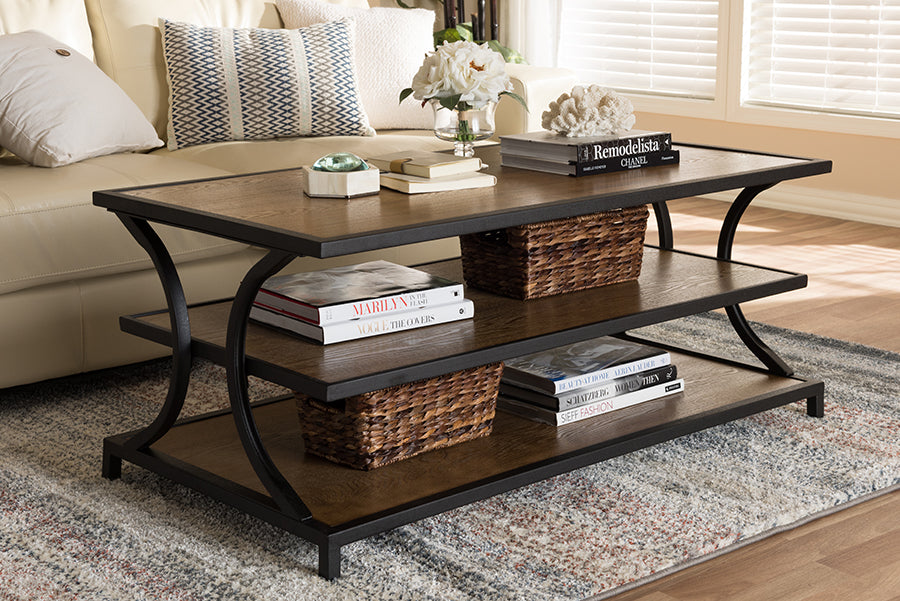 Wholesale interiors Lancashire Rustic Industrial Style Oak Brown Finished Wood and Black Finished Metal Coffee Table YLX-0004-CT