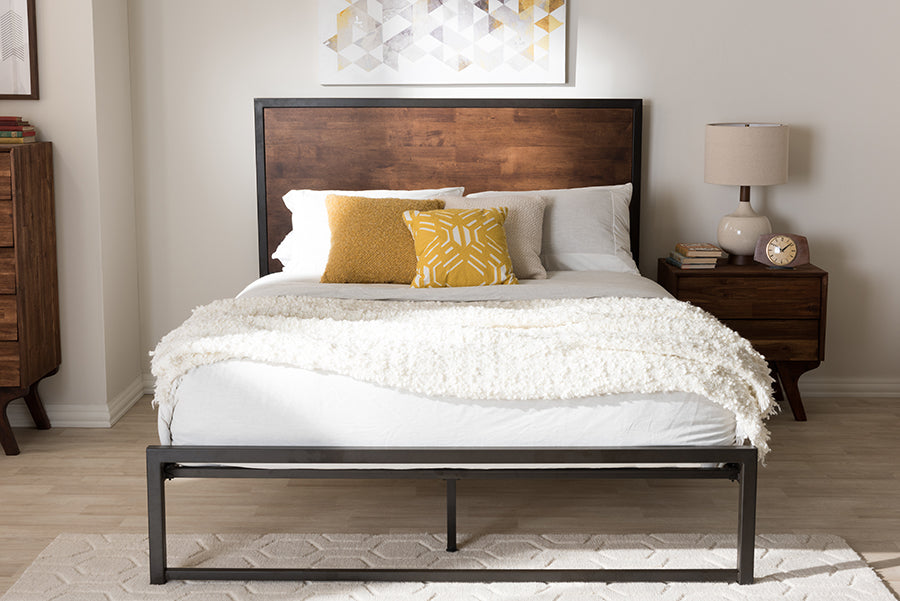 Wholesale interiors Santa Rustic Industrial Black Finished Metal Coco Brown Wood Queen Size Platform Bed TS1144-Brown/Black-Queen