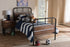 Wholesale interiors Monoco Rustic Industrial Black Finished Metal Coco Brown Wood Twin Size Platform Bed TS1145-Black-Twin