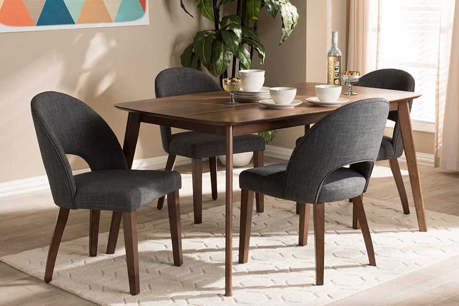 Wholesale interiors Wesley Mid-Century Modern Dark Grey Fabric Upholstered Walnut Finished Wood 5-Piece Dining Set Wesley-Dark Grey-5PC Dining Set
