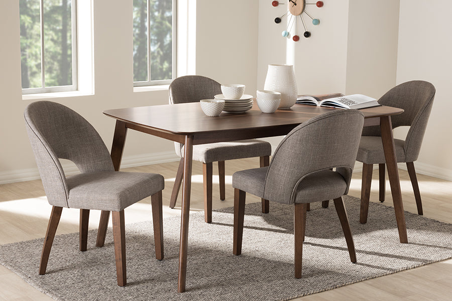 Wholesale interiors Wesley Mid-Century Modern Light Grey Fabric Upholstered Walnut Finished Wood 5-Piece Dining Set Wesley-Light Grey-5PC Dining Set