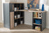 Wholesale interiors Pandora Modern and Contemporary Dark Grey and Light Brown Two-Tone Study Desk with Built-in Shelving Unit WT970010-Dark Grey/White Oak