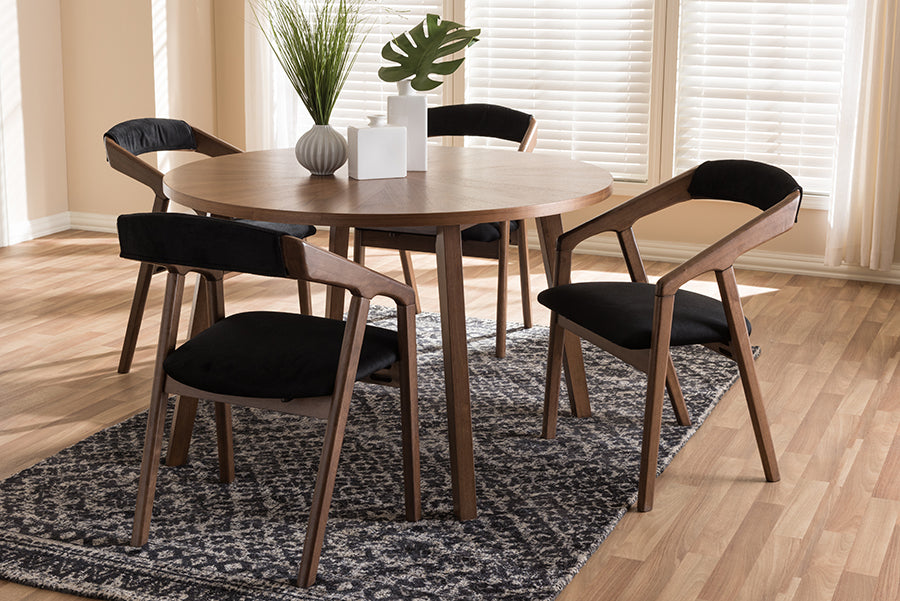 Wholesale interiors Wendy Mid-Century Modern Black Fabric and Walnut Medium Brown Wood Finishing Dining Set Walnut Sunburst Dining Set
