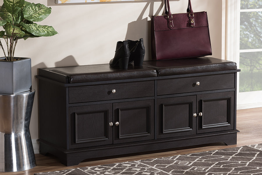 Wholesale interiors Mason Modern and Contemporary Dark Brown Wood 2-Drawer Shoe Storage Bench W-1705-5002-Dark Brown-Shoe Bench