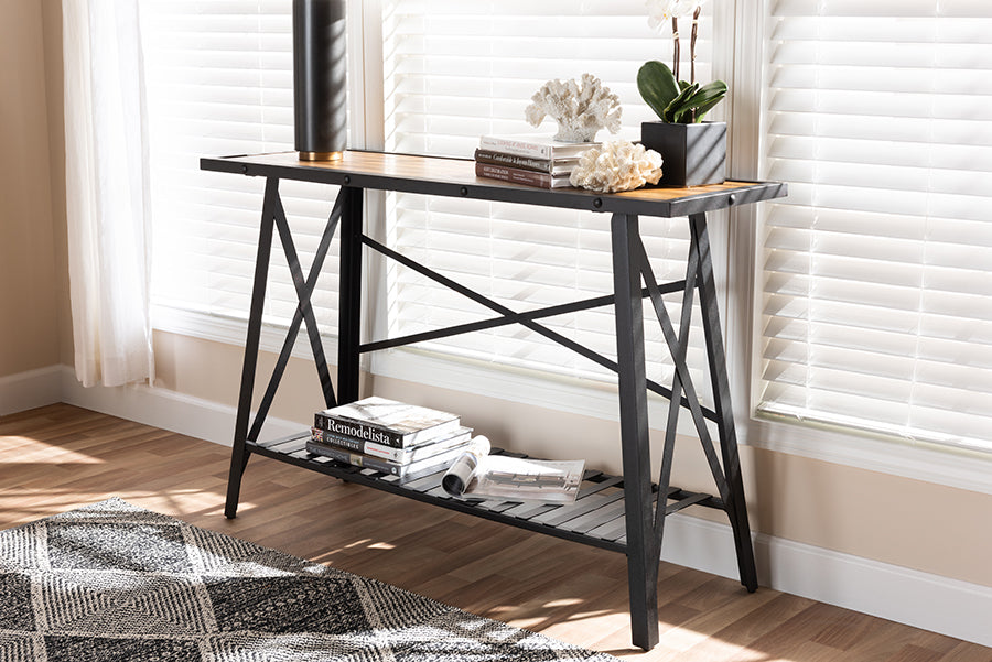 Wholesale interiors Allaire Vintage Rustic Industrial Style Wood and Dark Bronze-Finished Metal Console Table YLX-2713