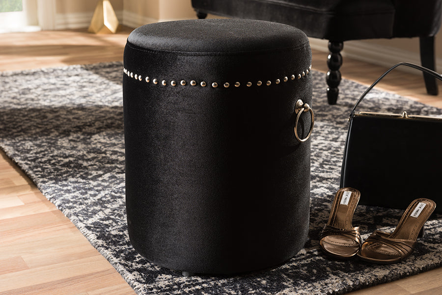 Wholesale interiors Maeve Modern and Contemporary Black Velvet Upholstered Nailhead Trim Ottoman WS-2643-Black
