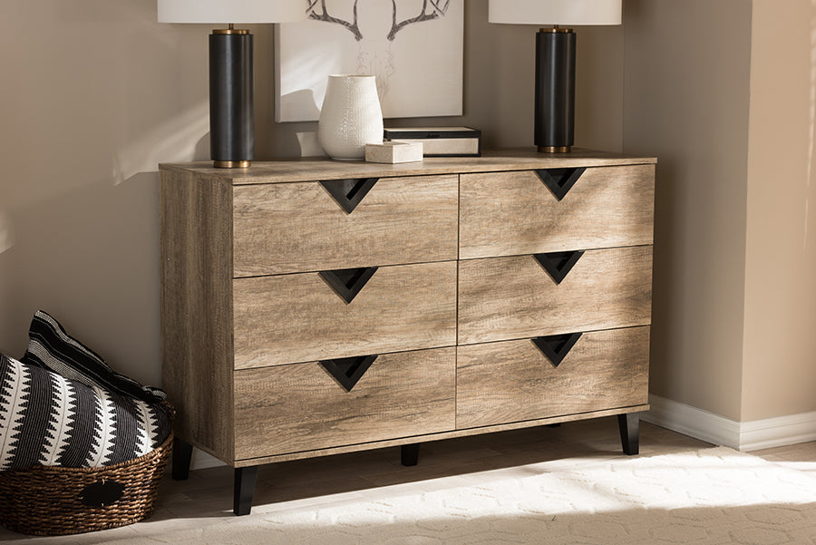 Wholesale interiors Wales Modern and Contemporary Light Brown Wood 6-Drawer Chest Wales-6DW-Chest