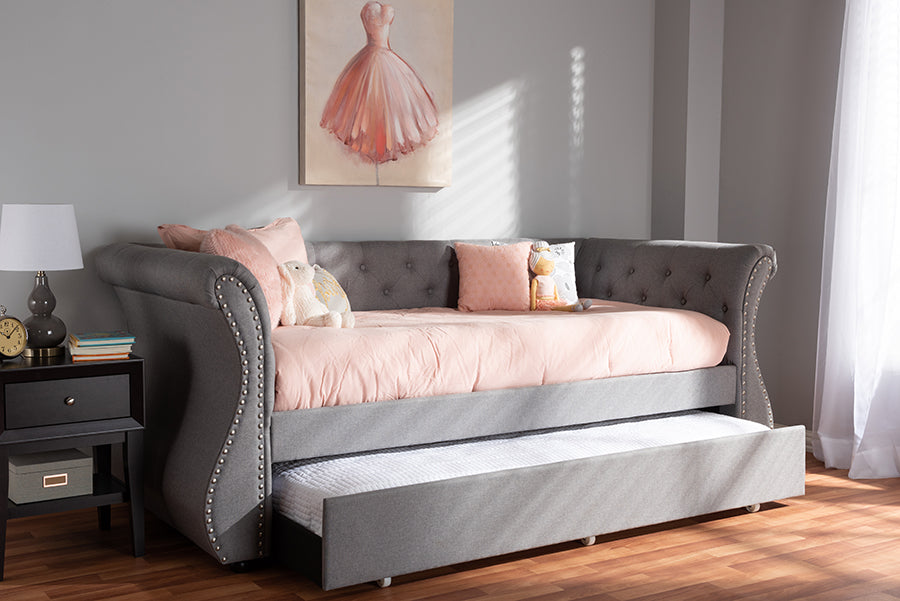 Wholesale interiors Cherine Classic and Contemporary Grey Fabric Upholstered Daybed with Trundle WA5018-Grey-Daybed