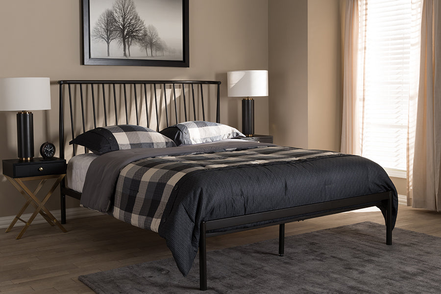 Wholesale interiors Sabine Modern and Contemporary Black Finished Metal Full Size Platform Bed TS-Irvine-Black-Full