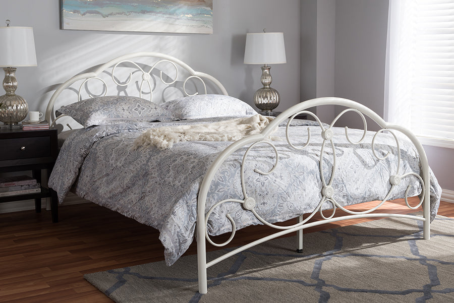 Wholesale interiors Liliane Vintage Industrial Antique White Finished Metal Full Size Platform Bed TS-Maria-White-Full