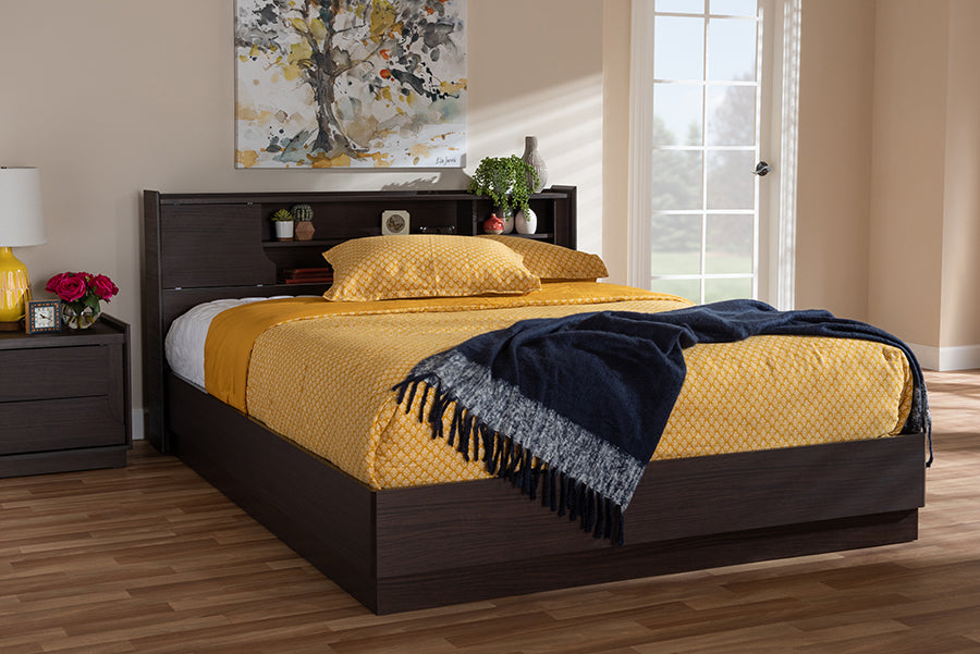 Wholesale interiors Larsine Modern and Contemporary Brown Finished Queen Size Platform Storage Bed YCQB00929-Modi Wende-Queen