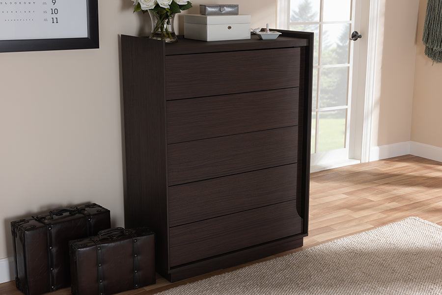 Wholesale interiors Larsine Modern and Contemporary Brown Finished 5-Drawer Chest YCCOD00906-Modi Wende-Chest