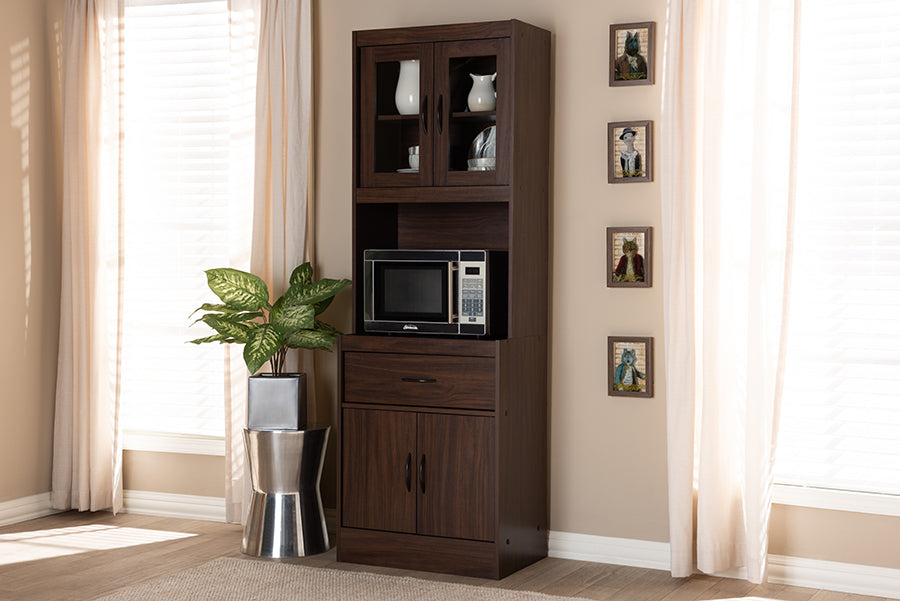 Wholesale interiors Laurana Modern and Contemporary Dark Walnut Finished Kitchen Cabinet and Hutch WS883200-Dark Walnut