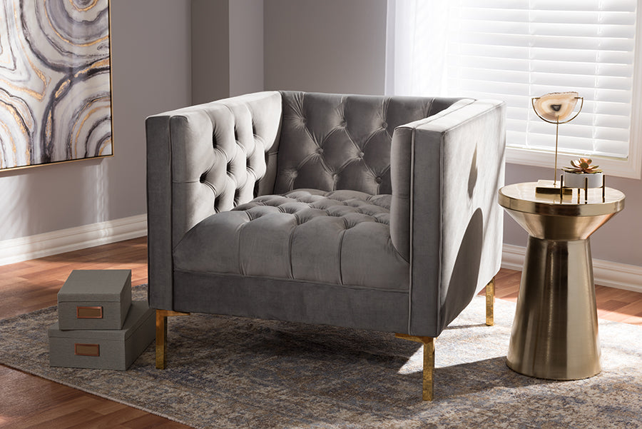 Wholesale interiors Zanetta Luxe and Glamour Grey Velvet Upholstered Gold Finished Lounge Chair TSF-7723-Grey/Gold
