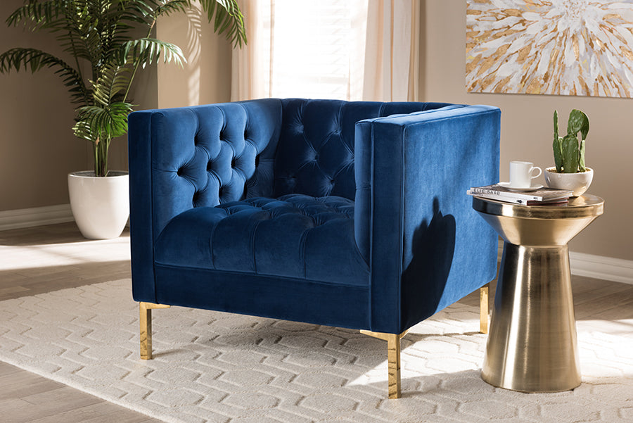 Wholesale interiors Zanetta Luxe and Glamour Navy Velvet Upholstered Gold Finished Lounge Chair TSF-7723-Navy/Gold