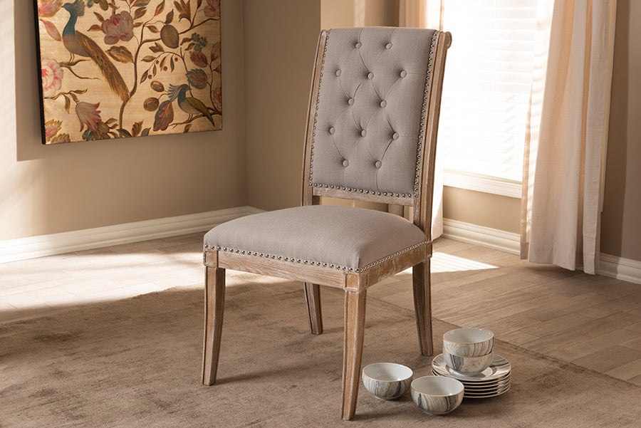 Wholesale interiors Charmant French Provincial Beige Fabric Upholstered Weathered Oak Finished Wood Dining Chair TSF-7711-Beige-DC