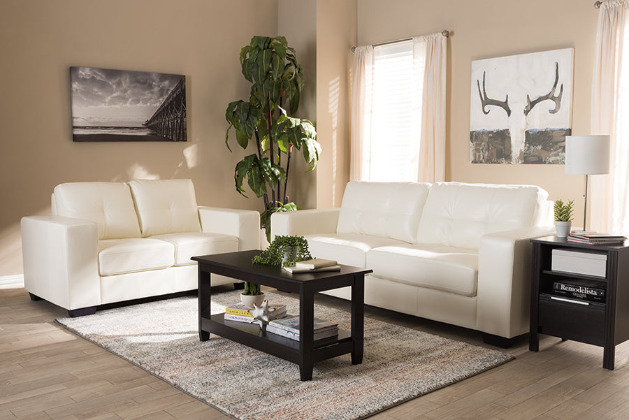 Wholesale interiors Adalynn Modern and Contemporary White Faux Leather Upholstered 2-Piece Livingroom Set U2470-White-2PC-Set