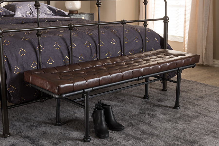Wholesale interiors Zelie Rustic and Industrial Brown Faux Leather Upholstered Bench YLX-7009-PU